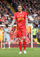Daniel Agger of Liverpool during the Barclays Premier League match against Newcastle United at Anfield, Liverpool.<br /> Picture by Michael Sedgwick/Focus Images Ltd +44 7900 363072<br /> 11/05/2014