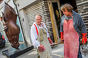 Nic Fiddian-Green (pictured in white shirt - sculptor of monumental neo-classical horses heads) sets up his iron foundry in Bruton Place, Mayfair to demonstrate the ancient art of 'lost wax' casting and also hand patinating.  He also has a new solo show at Sladmore Contemporary from 10th June until 31st July 2015. The exhibition will include a recreation of the artist's hilltop surrey studio and workshop,  with new work in  progress.