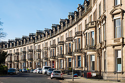 Terraced townhouses at Eglinton crescent in Edinburgh West End , Scotland UK