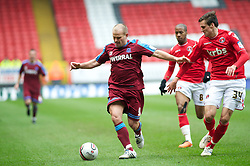 LONDON, ENGLAND - Saturday, March 5, 2011: Tranmere Rovers' Andy Robinson  and Charlton Athletic's Carl Jenkinson in action during the Football League One match at The Valley. (Photo by Gareth Davies/Propaganda)