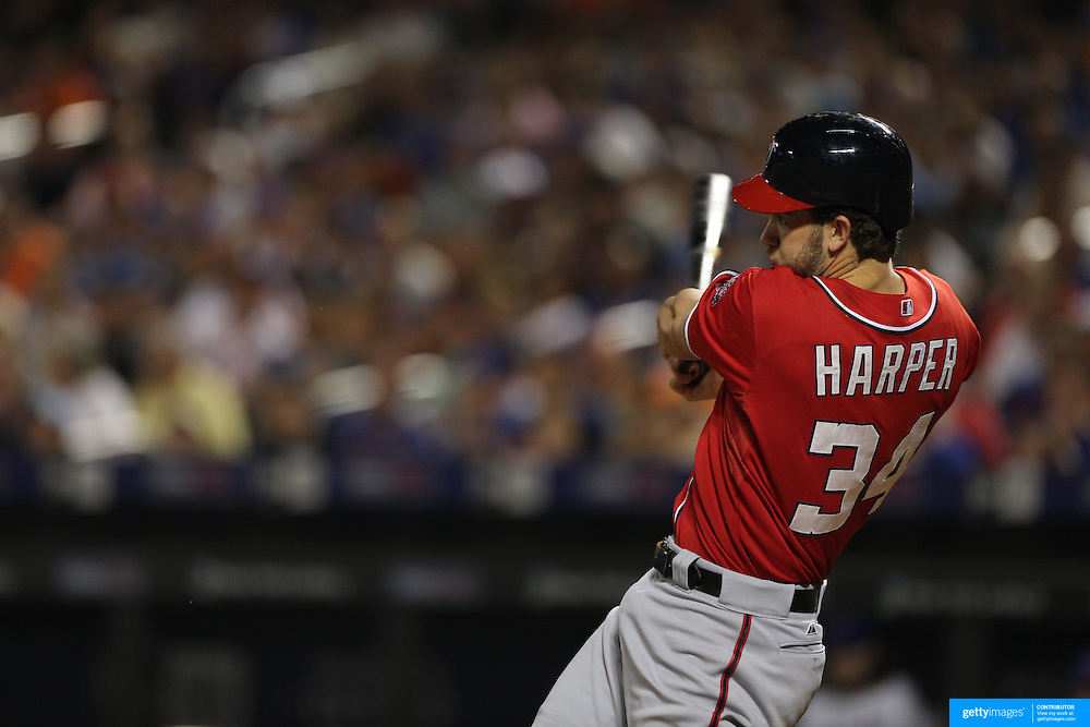 Bryce Harper, Washington Nationals, batting during the New York Mets Vs Washington Nationals MLB regular season baseball game at Citi Field, Queens, New York. USA. 2nd August 2015. Photo Tim Clayton