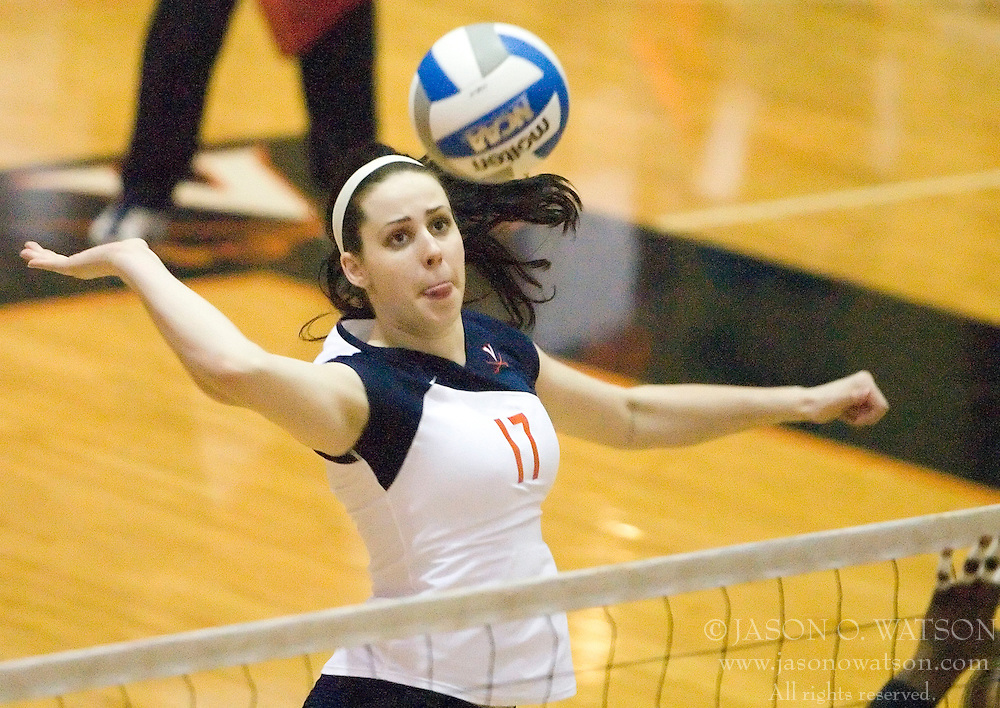 Virginia Cavaliers M Katie Oakes (17)..The Virginia Cavaliers Volleyball team faced the Florida State Seminoles at Memorial Gymnasium in Charlottesville, VA on September 20, 2007.