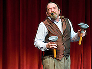 NEWS&amp;GUIDE PHOTO / PRICE CHAMBERS<br /> Bob Berky leaves the audience in stiches as he clowns through an impressive act at the JH Showcase on Friday at Center for the Arts. The award-winning playwright performs internationally, mixing juggling and prop work with the impromptu humor of a kazoo voice.