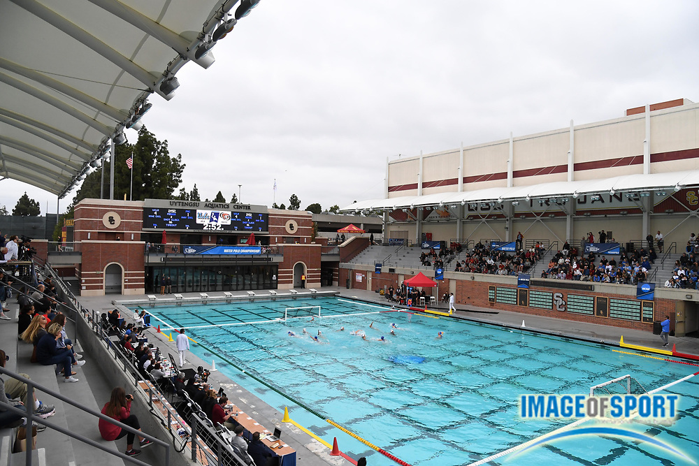 General overall view of the Uytengsu Aquatics Center on the campus of the University of Southern California  during an NCAA college women's water polo quarterfinal game between the Pacific Tigers and the UCLA Bruins in Los Angeles, Friday, May 11, 2018. UCLA defeated Pacific, 8-4.