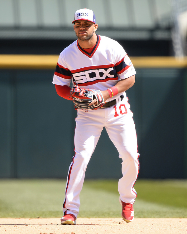 CHICAGO - APRIL 22: Yoan Moncada #10 of the Chicago White Sox fields against the Houston Astros on April 22, 2018 at Guaranteed Rate Field in Chicago, Illinois.  (Photo by Ron Vesely)   Subject:   Yoan Moncada