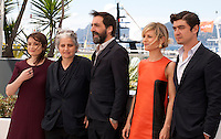 Valentina Acca, Viola Prestieri, Stefano Mordini, Marina Fois and Riccardo Scamarcio at the Pericle (Pericle Il Nero) film photo call at the 69th Cannes Film Festival Thursday 19th May 2016, Cannes, France. Photography: Doreen Kennedy
