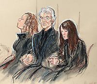 1st May 2014.. Leeds School Corpus Christi stabbing death story. DRAWING BY COURT ARTIST PRISCILLA COLEMAN. Ann Maguire's husband Don holds hands in the court with his daughters Kerry left, and Emma right.