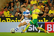 Queens Park Rangers midfielder Luke Freeman (7) gets in a cross during the EFL Sky Bet Championship match between Norwich City and Queens Park Rangers at Carrow Road, Norwich, England on 16 August 2017. Photo by Nigel Cole.