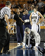 Oral Roberts' head coach Scott Sutton sinks to the floor without saying a word as he reacts to the referee's out-of-bounds call against ORU in  their game against UALR in Tulsa, OK.