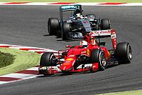 VETTEL sebastian (ger) ferrari sf15t, HAMILTON lewis (gbr) mercedes gp mgp w06 action during 2015 Formula 1 FIA world championship, Spain Grand Prix, at Barcelona Catalunya from May 8th to 10th. Photo Florent Gooden / DPPI