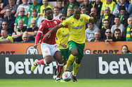 Cameron Jerome of Norwich is fouled by Jonathan Leko of Bristol City during the Sky Bet Championship match at Carrow Road, Norwich<br /> Picture by Paul Chesterton/Focus Images Ltd +44 7904 640267<br /> 23/09/2017