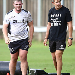 DURBAN, SOUTH AFRICA, 17 November 2015 - Gerhardus Engelbrecht with Ryan Strudwick (Assistant Coach) of the Cell C Sharks during The Pre-season training squad and coaching team announcement at Growthpoint Kings Park in Durban, South Africa. (Photo by Steve Haag)<br /> images for social media must have consent from Steve Haag