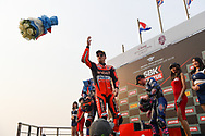 BURIRAM, THAILAND - MARCH 25: Chaz Davies (#7) of Great Britain and Aruba.it Racing – Ducati reaction on the podium during Day 3 at the Motul Thai Round Superbike World Championship 2018, Chang International Circuit, Buriram, Thailand on March 25, 2018.<br /> .<br /> .<br /> .<br /> (Photo by: Naratip Golf Srisupab/SEALs Sports Images)<br /> .<br /> Any image use must include a mandatory credit line adjacent to the content which should read: Naratip Golf Srisupab/SEALs Sports Images