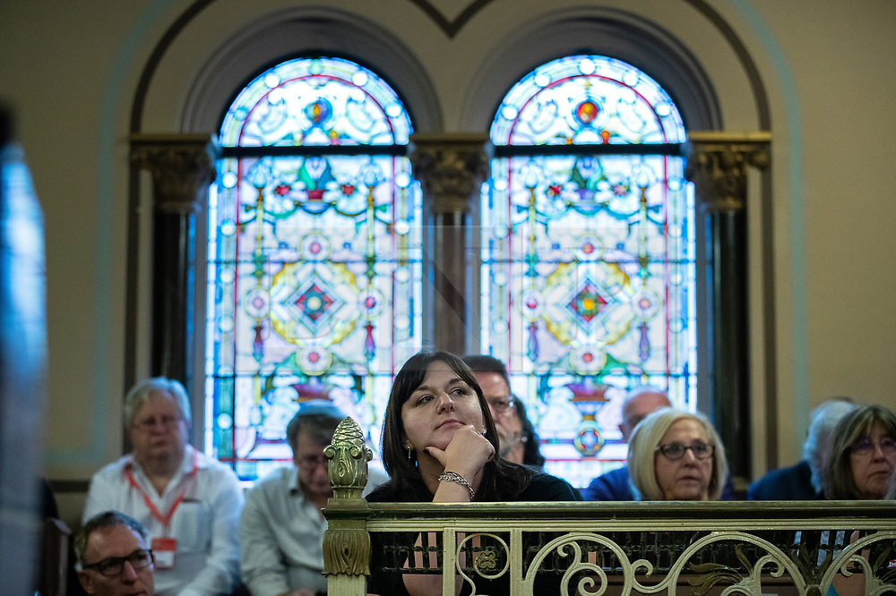 © Licensed to London News Pictures . 22/09/2019. Brighton, UK. RUTH SMEETH in the audience of a  fringe event by the Jewish Labour Movement at middle Street Brighton Synagogue, during the second day of the 2019 Labour Party Conference from the Brighton Centre . Photo credit: Joel Goodman/LNP