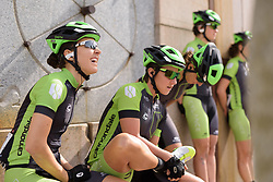 Dani King (Cylance) chats with teammates before they are called to the stage at Trofeo Alfredo Binda 2017. A 131 km road race on March 19th 2017, from Taino to Cittiglio, Italy. (Photo by Sean Robinson/Velofocus)