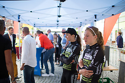 Aafke Soet (NED) of Parkhotel Valkenburg - Destil Cycling Team waits for her turn on the podium after Stage 3 of the Lotto Thuringen Ladies Tour - a 124 km road race, starting and finishing in Weimar on July 15, 2017, in Thuringen, Germany. (Photo by Balint Hamvas/Velofocus.com)
