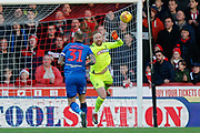 Bolton Wanderers goalkeeper Ben Alnwick (1) makes a save during the EFL Sky Bet Championship match between Brentford and Bolton Wanderers at Griffin Park, London, England on 22 December 2018.