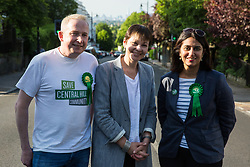 London, UK. 22 May, 2019. Caroline Lucas, Green Party MP for Brighton Pavilion, campaigns for the European elections in Gipsy Hill, Lambeth, with Cllr Pete Elliott and Gulnar Hasnain, who is on the Green Party list in London. After Gibraltar, Lambeth is the most pro-Remain area of the UK with 78.6% having voted Remain in 2016. There was a large swing to the Green Party in Gipsy Hill, historically a safe Labour seat, in May 2018 when Pete Elliott was elected as a Green councillor.