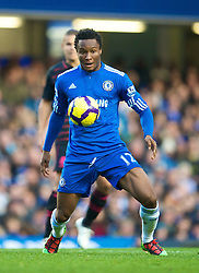 LONDON, ENGLAND - Saturday, December 12, 2009: Chelsea's John Mikel Obi in action against Everton during the Premiership match at Stamford Bridge. (Photo by David Rawcliffe/Propaganda)