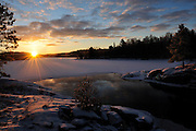 Sunrise on the Vermilion River in Northern Ontario, Canada.