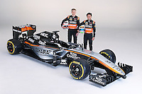 (L to R): Nico Hulkenberg (GER) Sahara Force India F1 with team mate Sergio Perez (MEX) Sahara Force India F1.<br /> Sahara Force India F1 Team Livery Reveal, Soumaya Museum, Mexico City, Mexico. Wednesday 21st January 2015.