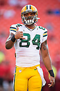 KANSAS CITY, MO - AUGUST 29:  DJ Williams #84 of the Green Bay Packers warms up before the last preseason game against the Kansas City Chiefs at Arrowhead Stadium on August 29, 2013 in Kansas CIty, Missouri.  (Photo by Wesley Hitt/Getty Images) *** Local Caption *** DJ Williams
