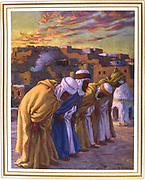 Inclination in prayer.  Illustration by E. Dinet (1861-1929) for La Vie de Mohammed, prophete d'Allah.