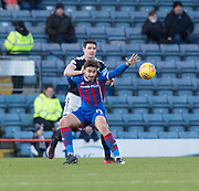 20th January 2018, Dens Park, Dundee, Scotland; Scottish Cup fourth round, Dundee versus Inverness Caledonian Thistle; Dundee's Darren O'Dea battles for the ball with Inverness Caledonian Thistle's George Oakley