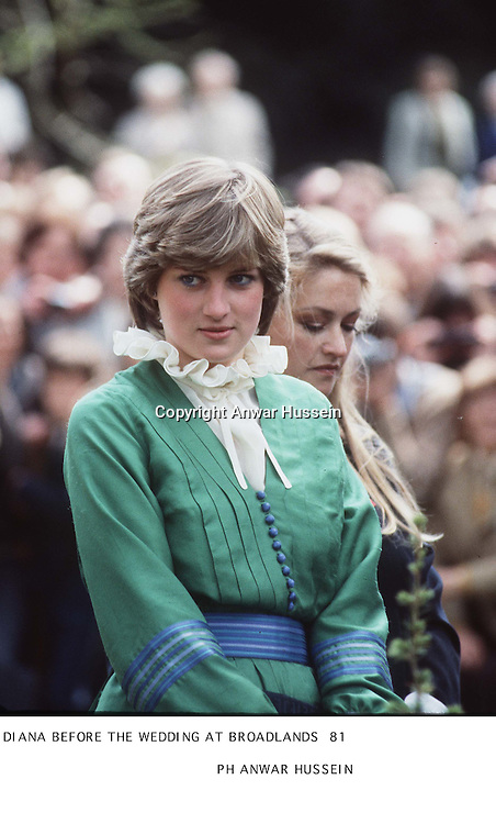Lady Diana in Romsey, Hampshire in March 1981 before her marriage. The piecrust frill became a Diana trademark.<br /><br />Photo.  Anwar Hussein
