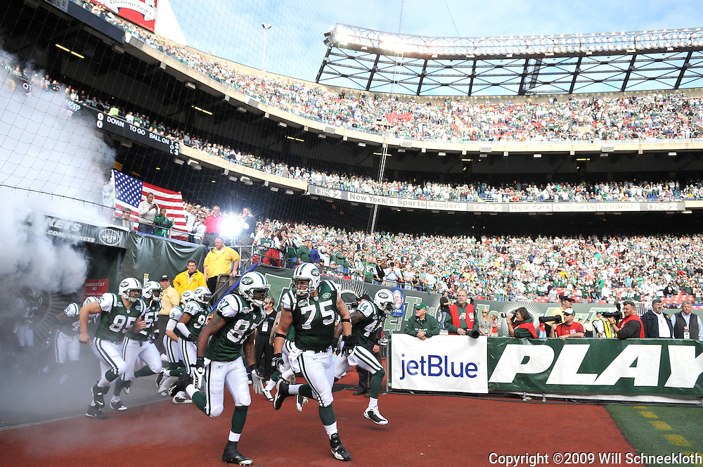 Nov 15, 2009; East Rutherford, NJ, USA; The New York Jets take the field for first half NFL action between the New York Jets and Jacksonville Jaguars at Giants Stadium.