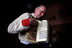 CZECH REPUBLIC MORAVIA BANOV 5APR10 - Folk musician Jiri Chovanec is sunk deep into his play on the accordeon during traditional Easter Monday celebrations in Banov, Moravia, Czech Republic.<br /> <br /> jre/Photo by Jiri Rezac<br /> <br /> © Jiri Rezac 2010