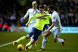 Tom Lawrence of Derby County takes on Stuart Dallas of Leeds United - Mandatory by-line: Robbie Stephenson/JMP - 31/10/2017 - FOOTBALL - Elland Road - Leeds, England - Leeds United v Derby County - Sky Bet Championship
