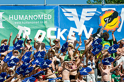 "Fans with sing ""TROCKEN"" at A1 Beach Volleyball Grand Slam tournament of Swatch FIVB World Tour 2010, final, on July 31, 2010 in Klagenfurt, Austria. (Photo by Matic Klansek Velej / Sportida)"