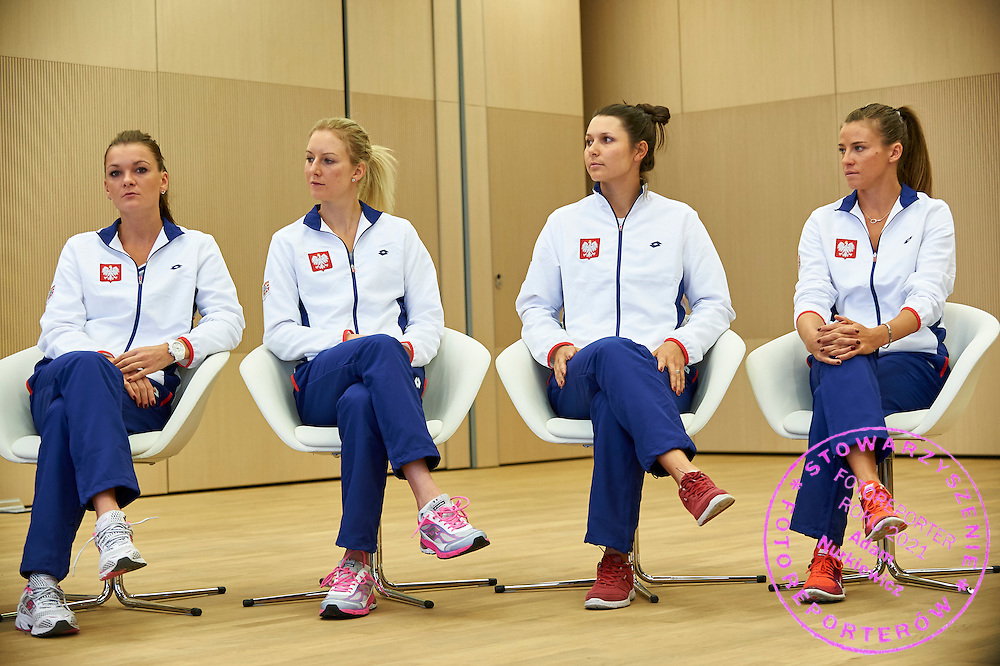 (L-R) Agnieszka Radwanska and Urszula Radwanska and Klaudia Jans Ignacik and Alicja Rosolska all from Poland during official draw one day before the Fed Cup / World Group 1st round tennis match between Poland and Russia at Holiday Inn on February 6, 2015 in Cracow, Poland.<br /> <br /> Poland, Cracow, February 6, 2015<br /> <br /> Picture also available in RAW (NEF) or TIFF format on special request.<br /> <br /> For editorial use only. Any commercial or promotional use requires permission.<br /> <br /> Adam Nurkiewicz declares that he has no rights to the image of people at the photographs of his authorship.<br /> <br /> Mandatory credit:<br /> Photo by &copy; Adam Nurkiewicz / Mediasport