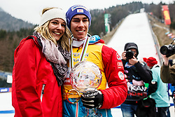 Stefan Kraft (AUT) with his girlfriend Marisa Probst during trophy ceremony after Ski Flying Hill Men's Individual Competition at Day 4 of FIS Ski Jumping World Cup Final 2017, on March 26, 2017 in Planica, Slovenia. Photo by Grega Valancic / Sportida