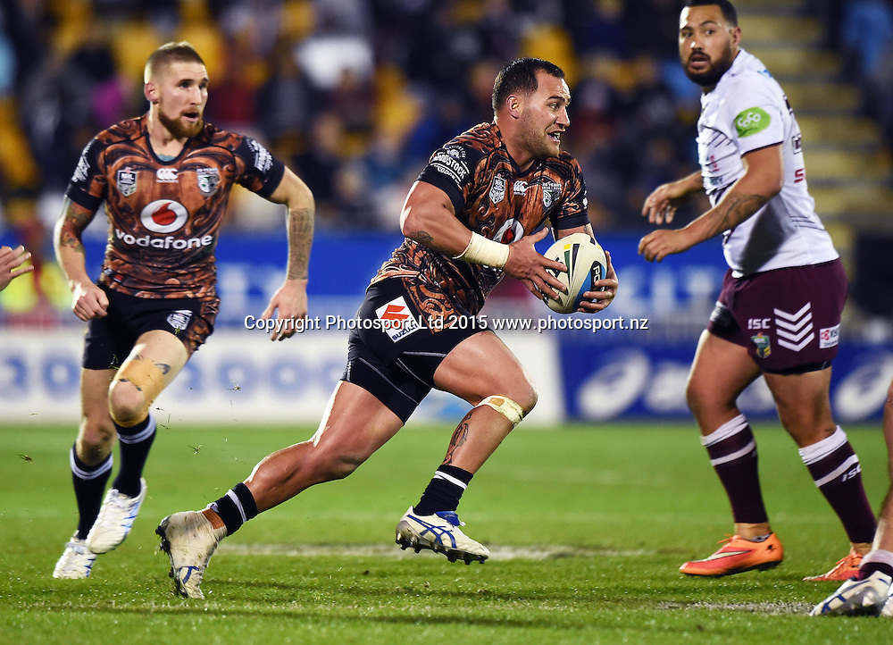 BODENE THOMPSON during the NRL Rugby League match between the Vodafone Warriors and The Manly Sea Eagles at Mt Smart Stadium, Auckland, New Zealand. Saturday 25 July 2015. Copyright Photo: Andrew Cornaga / www.Photosport.nz