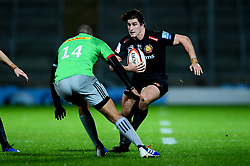 Tom Hendrickson of Exeter Chiefs is marked by Travis Ismaiel of Harlequins - Mandatory by-line: Ryan Hiscott/JMP - 25/11/2019 - RUGBY - Sandy Park - Exeter, England - Exeter Braves v Harlequins - Premiership Rugby Shield