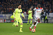 Lionel Messi of Barcelona and Ndombele Alvaro Tanguy of Lyon during the UEFA Champions League, round of 16, 1st leg football match between Olympique Lyonnais and FC Barcelona on February 19, 2019 at Groupama stadium in Decines-Charpieu near Lyon, France - Photo Romain Biard / Isports / ProSportsImages / DPPI