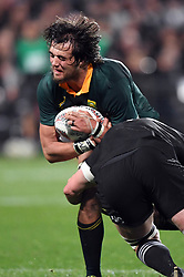 South Africa's Franco Mostert tackled by New Zealand's Scott Barrett in the Investic Championship rugby test match at QBE Stadium, Albany, Auckland New Zealand, Saturday, September 16, 2017. Credit:SNPA / Ross Setford** NO ARCHIVING**