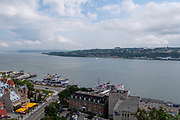 High angle view of the Saint Lawrence River and Levis, from Old Quebec, Canada.