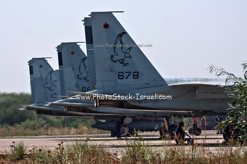 Three Israeli Air force F-15C Fighter jet on the ground