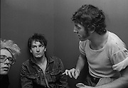 Photo of Bono, Bruce Springsteen and Adam Clayton back stage after U2 concert  at the Hammersmith Palais London 1981