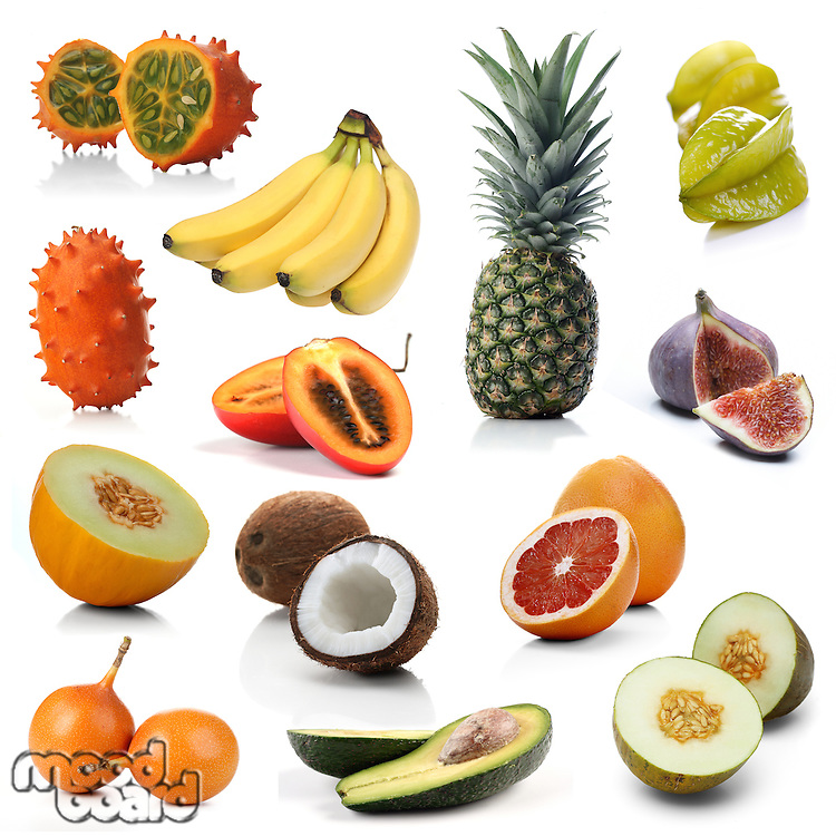 Mix of exotic fruits on white background