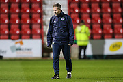 Forest Green Rovers assistant manager, Scott Lindsey overseeing the warm up during the EFL Sky Bet League 2 match between Swindon Town and Forest Green Rovers at the County Ground, Swindon, England on 12 February 2019.