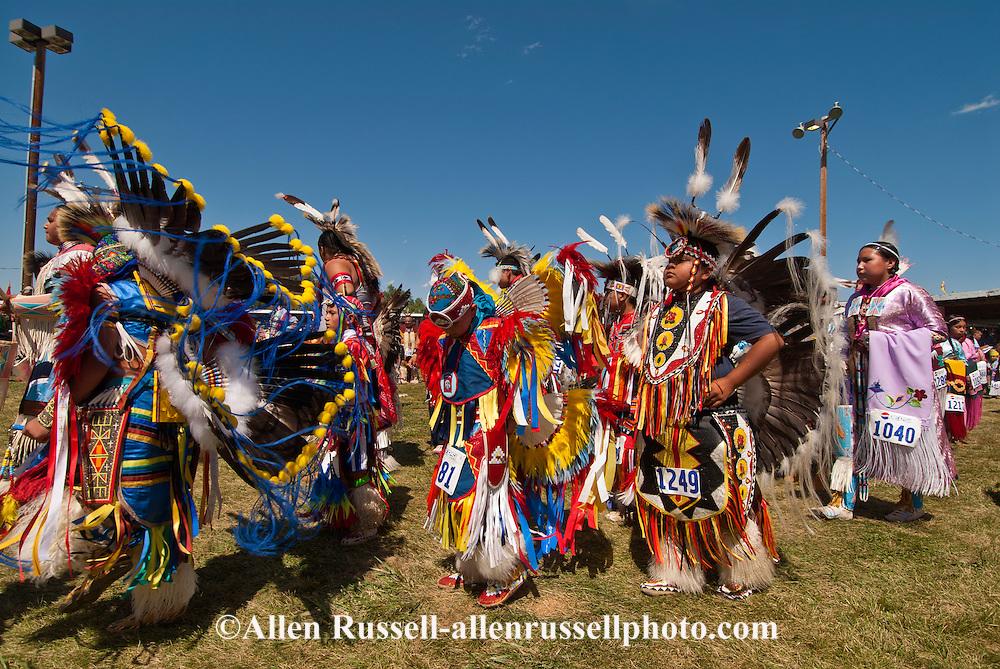 Crow Fair, powwow, Grand Entry, Kids, Traditional Dancers, Montana.