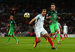 Harry Kane of England beats Benjamin Verbic of Slovenia to the ball - Mandatory by-line: Robbie Stephenson/JMP - 05/10/2017 - FOOTBALL - Wembley Stadium - London, United Kingdom - England v Slovenia - World Cup qualifier