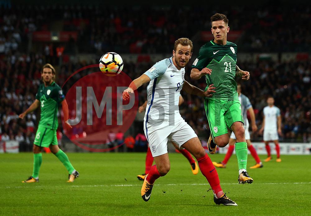 Harry Kane of England beats Benjamin Verbic of Slovenia to the ball - Mandatory by-line: Robbie Stephenson/JMP - 05/10/2017 - FOOTBALL - Wembley Stadium - London, United Kingdom - England v Slovenia - World Cup qualifier