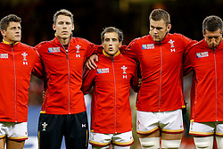 Wales replacement Matthew Morgan looks on during the National Anthems - Mandatory byline: Rogan Thomson/JMP - 07966 386802 - 20/09/2015 - RUGBY UNION - Millennium Stadium - Cardiff, Wales - Wales v Uruguay - Rugby World Cup 2015 Pool A.