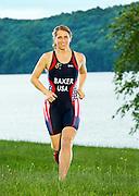 Portraits of triathlete Joella Baker for USA Triathlon magazine on June 2, 2014 at Moraine State Park in Portersville, PA.