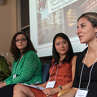 LEAP Symposium, Mount Holyoke College, 10/18/2013. Panel: Shifting Perspectives: Traversing Culture through Education. Left to right: Ami Terachi, Alessandra Baffa, Brooke Huynh, Gabrielle Gutierrez.